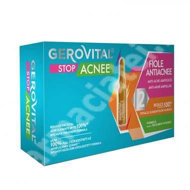 Fiole antiacneice Gerovital Stop Acnee, 10 fiole x 2 ml, Farmec
