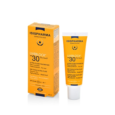 Fluid protector cu efect matifiant UVEBLOCK SPF30 Dry Touch, 40 ml, Isis Pharma