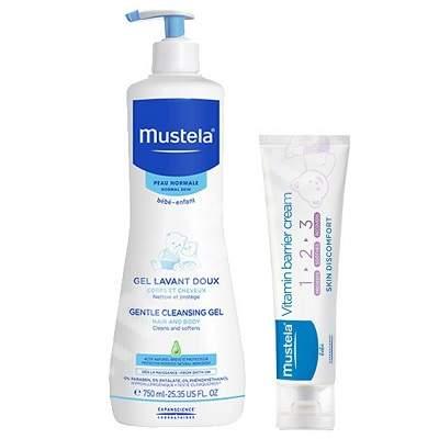 Gel de curatare par si corp, 750 ml + Crema pentru schimbatul scutecului Vitamin Barrier 1-2-3, 50 ml, Mustela