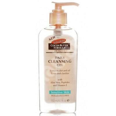Gel de curățare pentru piele sensibilă fără parfum Formula Unt de Cacao, 150 ml, Palmer's