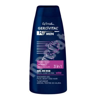 Gel de duș 3în1 - Gerovital H3 Men, Wild, 400 ml, Farmec