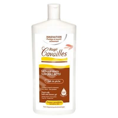 Gel surgras de baie si dus pentru piele sensibila cu aroma de piersici, 750 ml, Roge Cavailles