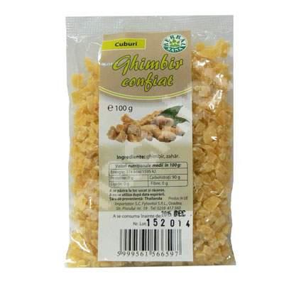 Ghimbir confiat cuburi, 100 g, Herbavit
