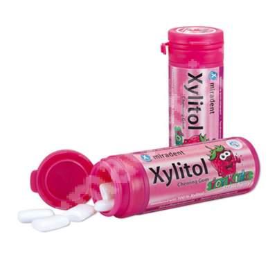 Guma de mestecat pentru copii Miradent cu Xylitol, 30 bucati, capsuni, Hager