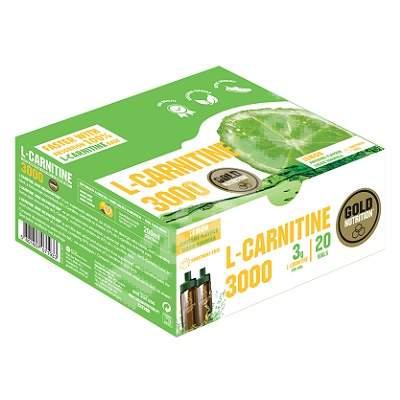 L-Carnitine 3000 mg cu aroma de lamaie, 20 fiole, Gold Nutrition
