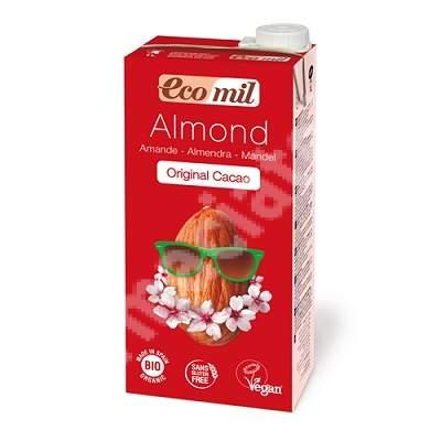 Lapte Bio din migdale cu cacao indulcit cu agave, 1L, Ecomil