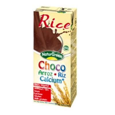 Lapte Bio din orez cu cacao si calciu marin, 200 ml, Naturgreen
