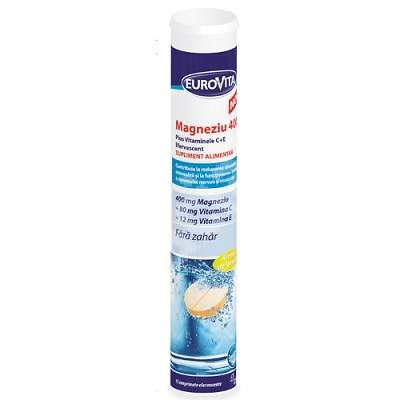 Magneziu 400 Plus Vitaminele C+E efervescent, 15 comprimate efervescente, Eurovita