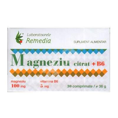 Magneziu citrat + B6, 30 comprimate, Remedia