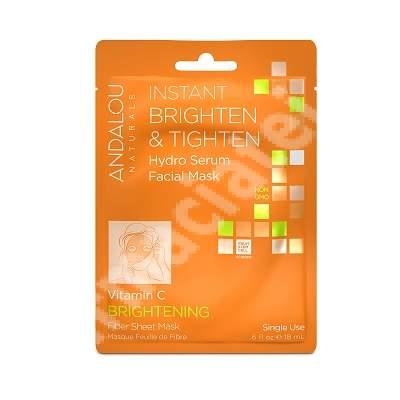 Mască celulozică impregnată cu ser pentru luminozitate Brightening Andalou, 18 ml, Secom