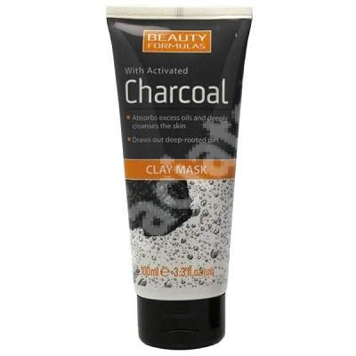 Masca de fata cu argila si carbune activ Beauty Formulas, 100 ml, Drammock