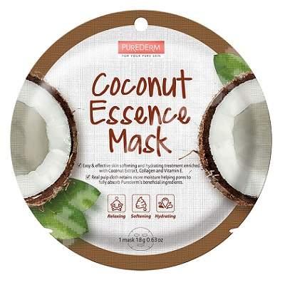 Masca din celuloza naturala pentru hidratare si catifelare Coconut Essence, 18 g, Purederm