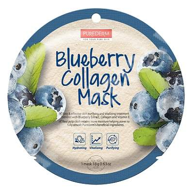 Masca din celuloza naturala pentru hidratare si purifiere Blueberry Collagen, 18 g, Purederm