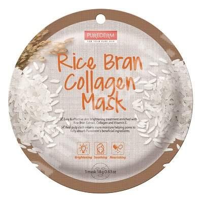 Masca din celuloza naturala pentru luminozitate si hranire Rice Bran Collagen, 18 g, Purederm