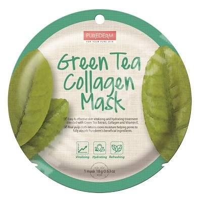 Masca din celuloza naturala pentru revitalizare Green Tea Collagen, 18 g, Purederm