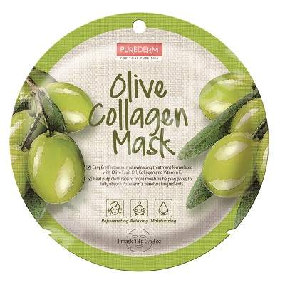 Masca din celuloza naturala pentru revitalizare Olive Collagen, 18 g, Purederm