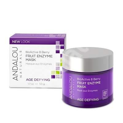 Mască enzimatică cu acțiune exfoliantă pentru ten matur sau uscat Age Defying Andalou, 50 g, Secom