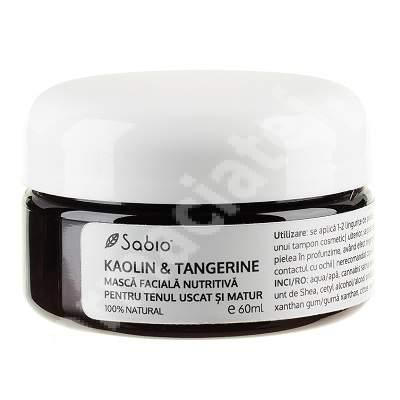 Masca facială pentru ten uscat și matur - Kaolin și Tangerine, 60 ml, Sabio