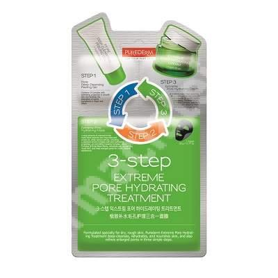 Masca in 3 pasi pentru hidratarea tenului Extreme Pore Hydrating, 22 + 1.5 + 1.5 g, Purederm