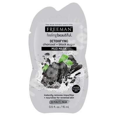 Masca neagra detoxifianta cu argila, carbune activ si zahar negru, 15 ml, Freeman