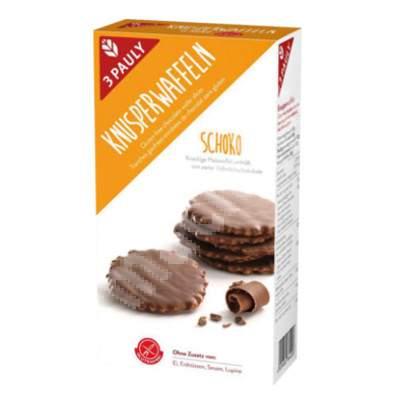 Minigofre fara gluten, imbracate in ciocolata cu lapte 3 Pauly, 100 g, Haus Rabenhost