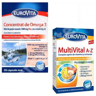 MultiVital A-Z, 42 comprimate + Concentrat de Omega 3, 30 capsule, Eurovita