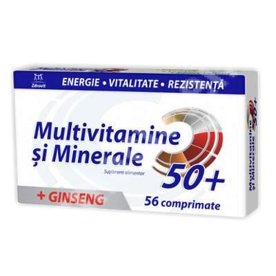 Multivitamine și Minerale cu Ginseng 50+, 56 comprimate, Zdrovit