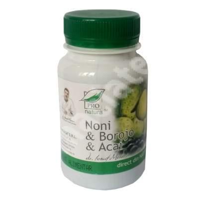 Noni, Borojo și Acai, 60 capsule, Pro Natura