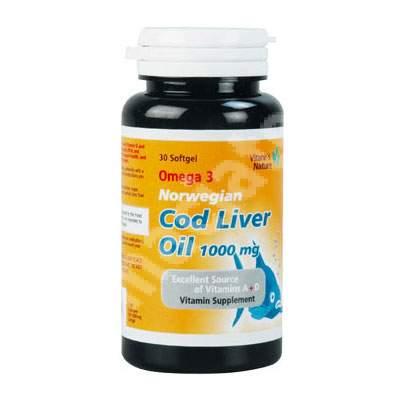 Omega 3 norvegian ulei din ficat de cod 1000 mg, 30 capsule, Vitane Pharma