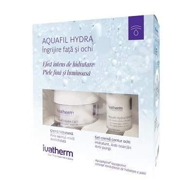 Pachet Crema hidratanta Aquafil Hydra Light, 30 ml + Gel-crema contur de ochi Aquafil Hydra Complex, 15 ml, Ivatherm