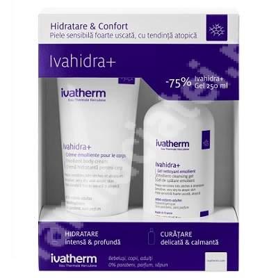 Pachet Crema hidratanta pentru corp Ivahidra +, 200 ml + Gel spumant piele sensibila Ivahidra+, 250 ml, Ivatherm