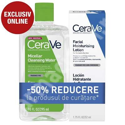 Pachet Crema hidratanta pentru fata, piele uscata si foarte uscata, 52 ml + Apa micelara hidratanta, 295 ml, CeraVe