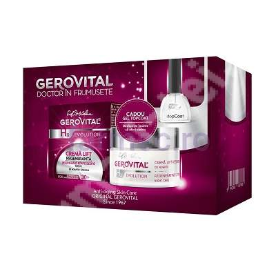 Pachet Crema lift regeneranta de noapte Gerovital H3 Evolution, 50 ml + Gel topcoat, 11 ml, Farmec