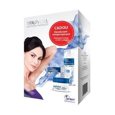 Pachet Crema lift restructuranta de noapte Gerovital H3, 50 ml + deodorant antiperspirant Gerovital H3 Natural, 150 ml, Farmec