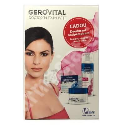 Pachet crema nutritiva antirid de noapte Gerovital H3 Classic, 50 ml + deodorant antiperspirant Gerovital H3 Splendide, 150 ml, Farmec