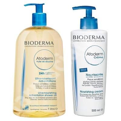 Pachet Crema parfumata Atoderm, 500 ml + Ulei de dus Atoderm, 1L, Bioderma