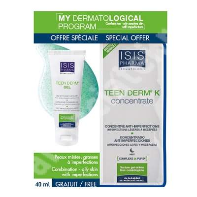 Pachet Crema pentru pielea predispusa la acnee Teen Derm Hydra, 40 ml + Gel de curatare Teen Derm Sensitive, 100 ml, Isispharma