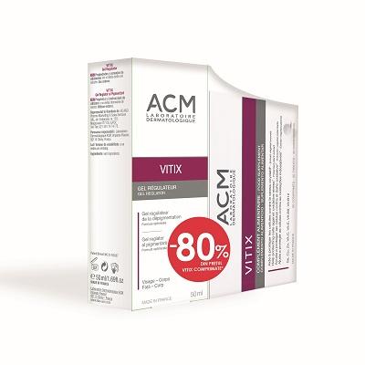 Pachet Gel reglator al pigmentării Vitix 50 ml + Vitix, 30 comprimate, Acm