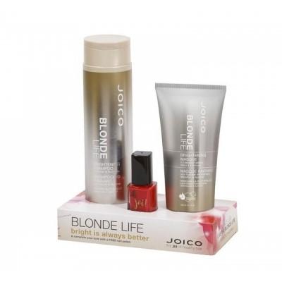 Pachet K-Pak Blonde Life Brightening Șampon 300 ml + Mască 150 ml + Lac de unghii, Joico