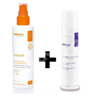 Pachet Lapte protectie solara pentru fata si corp SPF 50+ Sunlight, 200 ml + Apa termala Herculane Spray 200 ml , Ivatherm