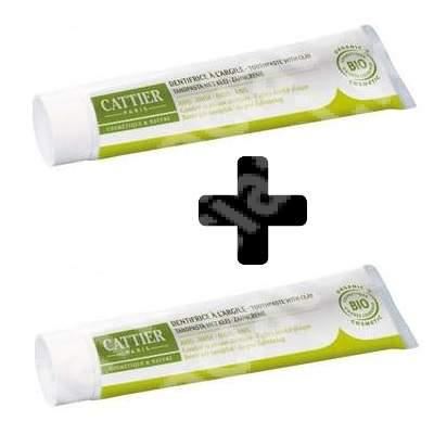 Pachet pastă de dinți Bio antitartru cu argilă și anason Dentargile, 75 + 75 ml, Cattier (50% reducere din al doilea produs)