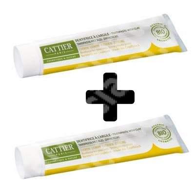 Pachet pastă de dinți Bio cu argilă și lămâie pentru gingii iritate Dentargile, 75 + 75 ml, Cattier (50% reducere din al doilea produs)