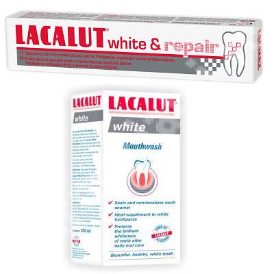 Pachet Pastă de dinți Lacalut White Repair, 75 ml + Apă de gură White, 100 ml, Theiss Naturwaren