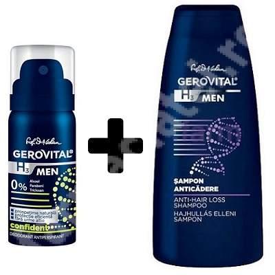 Pachet Șampon anticădere Gerovital H3 Men, 250 ml  + Deodorant antiperspirant Gerovital H3 Men Confident, 150 ml, Farmec