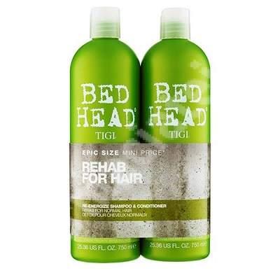 Pachet Sampon + Balsam energizant Bed Head Re-Energize, 750 + 750 ml, Tigi