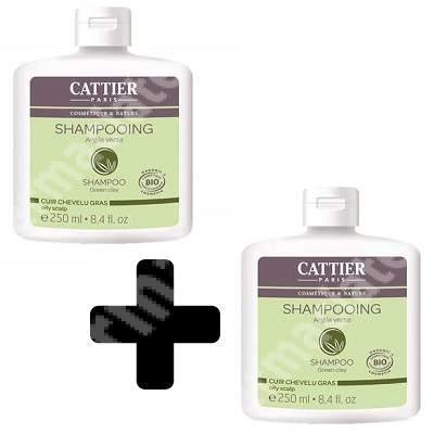 Pachet sampon Bio cu argila verde pentru parul foarte gras, 250 + 250 ml, Cattier (50% reducere din al doilea produs)