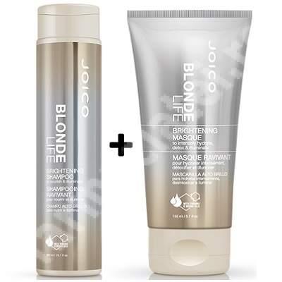 Pachet Sampon + Masca pentru par blond Blonde Life Brightening, 300 + 150 ml, Joico