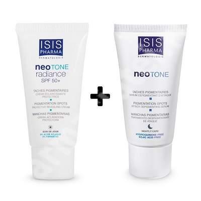 Pachet Serum depigmentant NeoTone, 25 ml + Crema NeoTone Radiance SPF 50, 30 ml, IsisPharma (-50% REDUCERE)