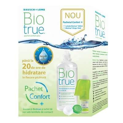Pachet Solutie Biotrue multifunctionala, 360 ml + Pciaturi de ochi Biotrue Drops, 10 ml, Bausch Lomb