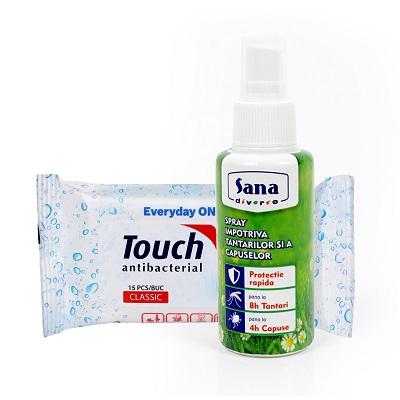 Pachet Spray împotriva țânțarilor și căpușelor, 100 ml + Șervetele umede antibacteriene, 15 bucăți, Touch